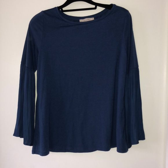 Loft navy blue belle sleeve long sleeve